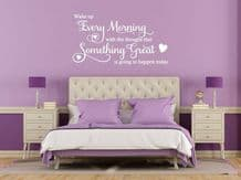 "Wall Quote ""Something Great Will Happen Today"" Cute Sticker Decal Decor Transfer"